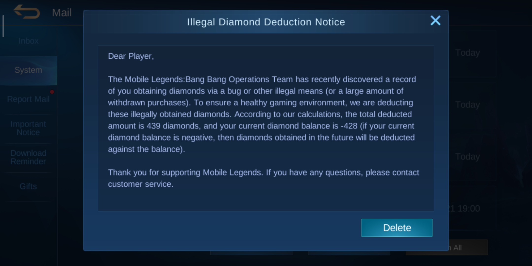 Mobile legends charging me with false accusation of acquiring illegal diamonds due to my subscriptio ...