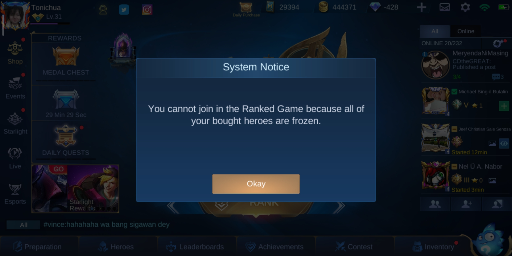 Frozen heroes and can't play rank